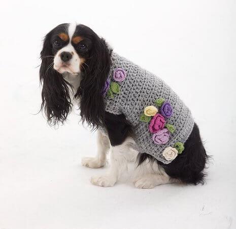 The Lady Who Lunches Dog Sweater Crochet Pattern by Lion Brand