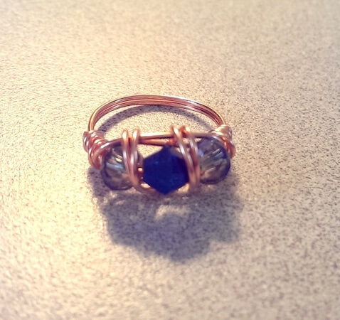 Triple Bead Wire Ring by Dawn Rosell
