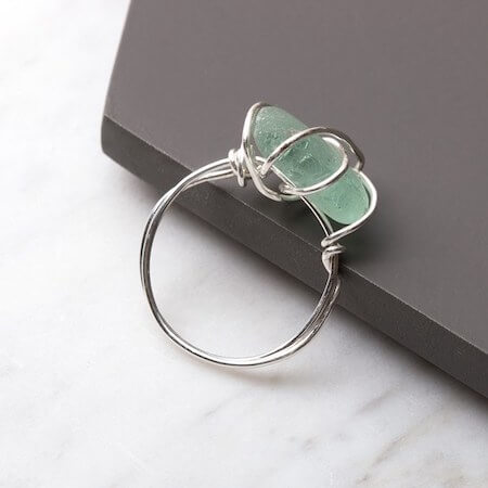 Wire Wrapped Sea Glass Ring by Kernowcraft