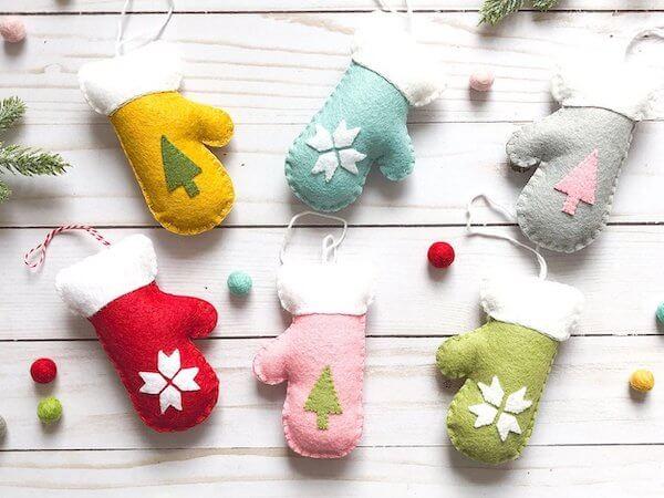 Wool Felt Mitten Christmas Ornament by Polkadot Chair
