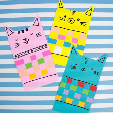 Woven Paper Cats In Sweaters by Pink Stripey Socks