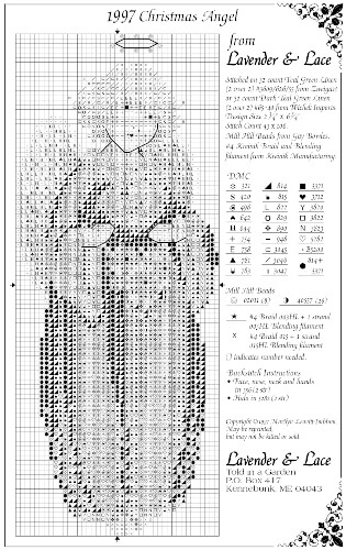 1997 Christmas Angel Free Lavender and Lace Cross Stitch Pattern