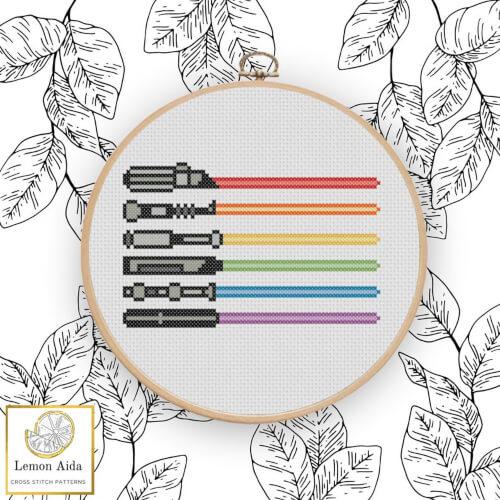6 Stripe Pride Sabers Cross Stitch Pattern by Lemonaida
