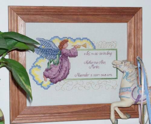 Angel Welcome Birth Record Cross Stitch Pattern by Katherine Martin Tripp