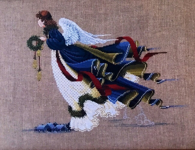 Angel of Freedom Lavender and Lace Cross Stitch Pattern by Marilyn Leavitt-Imblum