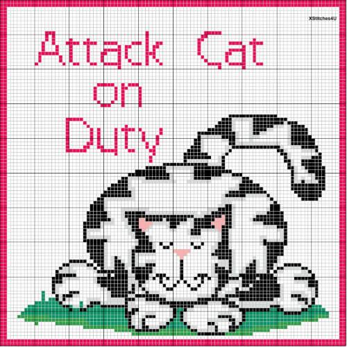 Attack Cat on Duty Cross Stitch Cat Pattern on Angelfire