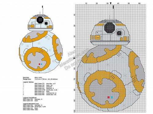 BB-8 Free Cross Stitch Star Wars Pattern by alexstitches