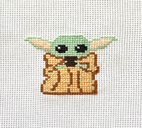 Baby Yoda Inspired Star Wars Cross Stitch Pattern Free by Made by Caitlin