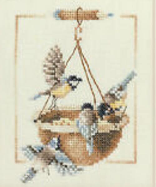 Birds at Feeding Dish Lanarte Cross Stitch Kit from Pepperdogcrossstitch