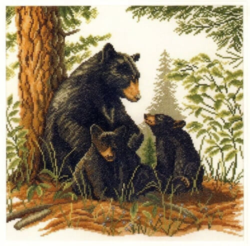 Black Bear with Cubs Lanarte Cross Stitch Kit from FilsetMercerieShop