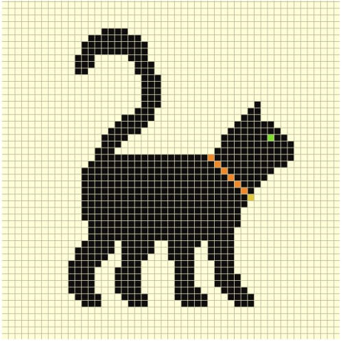 Black Cat Cross Stitch Pattern from Country Living Magazine