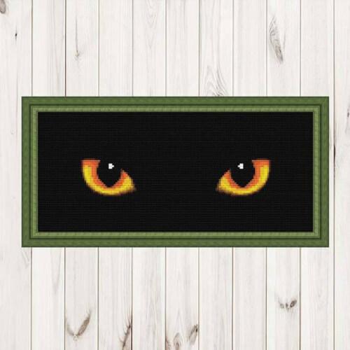 Black Cat Eyes Cross Stitch Pattern by MyLovelyCrossStitch