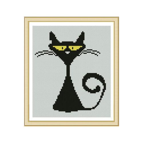 Black-White Silhouette Cat Cross Stitch Pattern by SolarToy