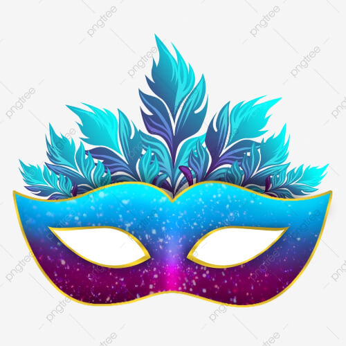 Blue Carnival Mask With Feathers