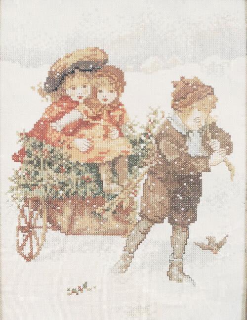 Boy Pulling Cart Winter Scene Lanarte Cross Stitch from TheNeedleCraftStore