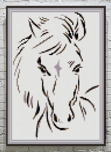Buy 2 Get 1 Free Modern Cross Stitch Horse Pattern by HomeDecorCrossStitch
