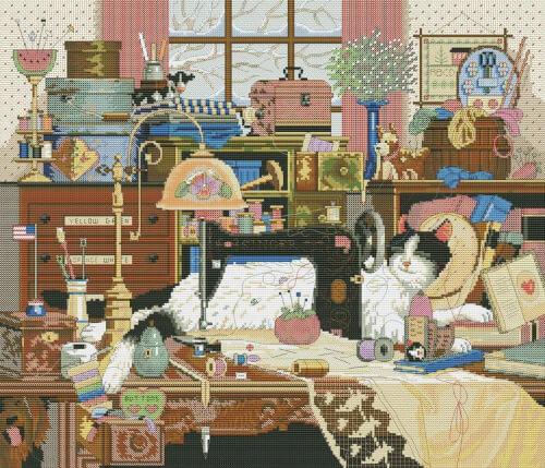 Cat Needlewoman Cross Stitch Pattern by CrossStitchKitsAlla