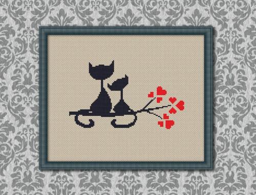 Cats in Love Cross Stitch Pattern by KHANNAandILAN