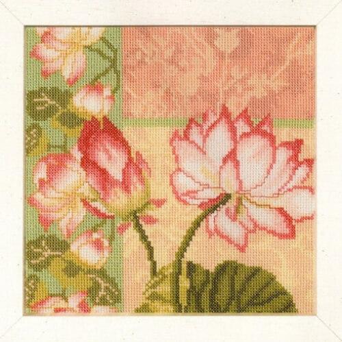 Composition of Lotus Flower Lanarte Cross Stitch Kit from FilsetMercerieShop