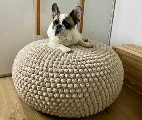 Crochet Bobbles Pouf Bean Bag Pattern by isWoolish