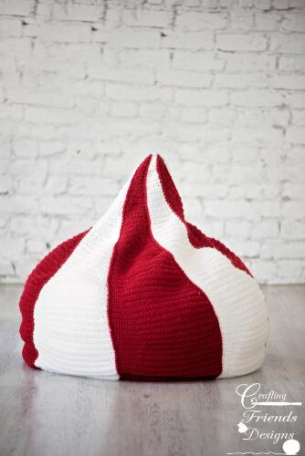 Crochet Peppermint Kiss Bean bag Pattern by CraftingFriendsDesign
