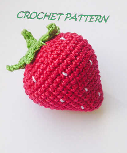 Crochet Strawberry Bean Bag Toy Pattern by RainbowHappiness