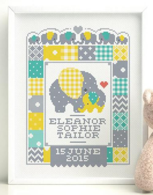 Customisable Elephant Birth Sampler Cross Stitch Pattern by Stitchrovia