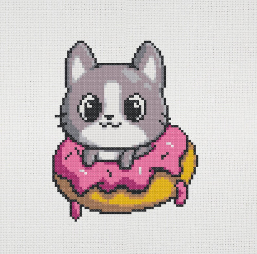 Cute Cat in Donut Cross Stitch Pattern by BeCuteToday