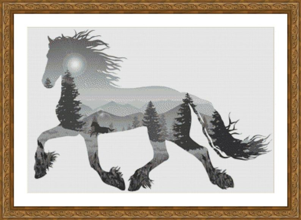 Cutout Forest Horse Counted Cross Stitch Pattern by ArtisticIntentionsUS