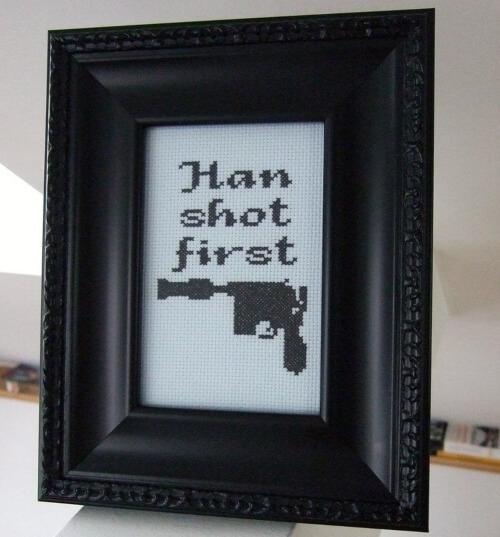 DIY Han Shot First Star Wars Stitch by bombastitch