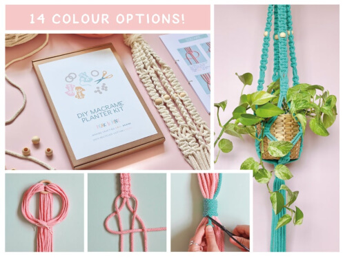 DIY Macrame Planter Kit With Beads from peakandpinedesigns