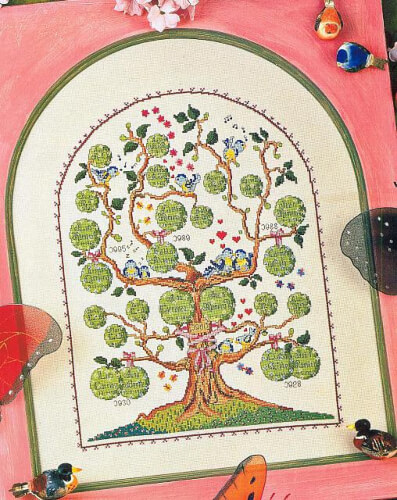 Elaborated Cross Stitch Family Tree from Cross Stitch Crochet Others