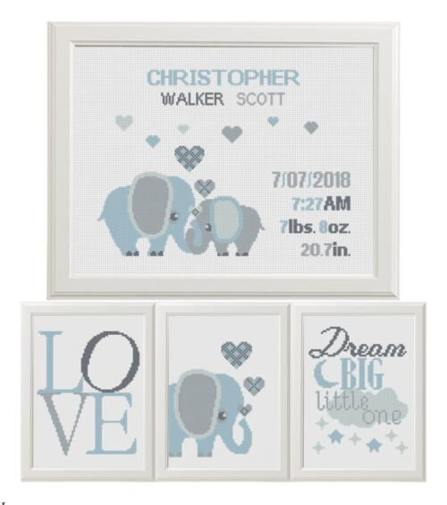 Elephants with hearts Birth Announcement Cross Stitch Pattern by AnimalCrossStitch