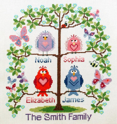 Family Tree Cross Stitch Pattern by BirdSaysTweet