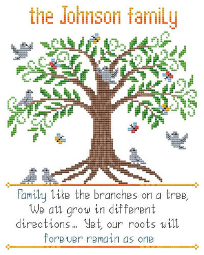 Family Tree Cross Stitch by AnnaXStitch