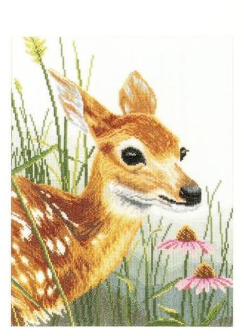 Fawn & Flowers Lanarte Cross Stitch Kit by the Artist James Hautman