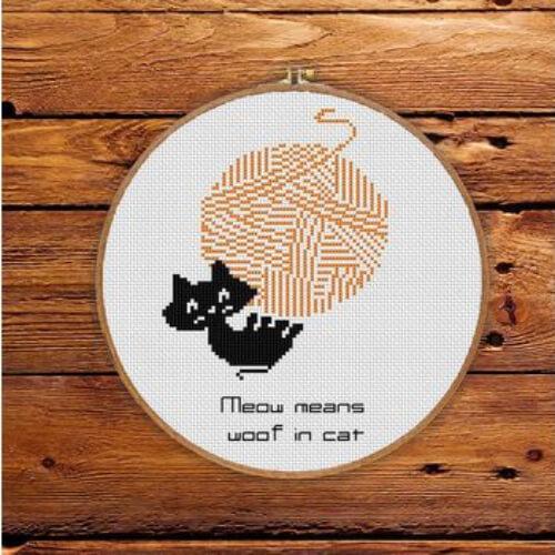 Free Black Kitten Cross Stitch Pattern on Smart Cross Stitch