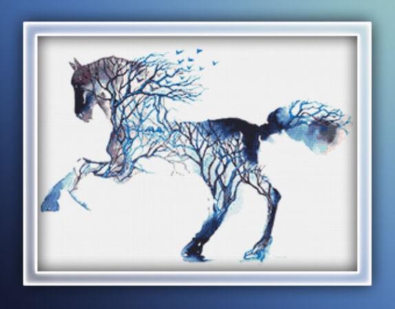 Grey Horse Watercolor Cross Stitch Pattern by LightUnicornDesigns