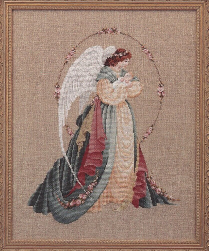 Guardian Angel Lavender and Lace Cross Stitch Chart from Petestreasuretrove