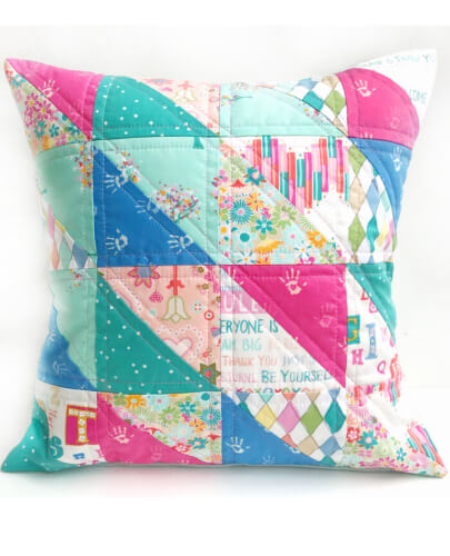 Half Square Triangle Quilted Pillow Cover Pattern from Polkadot Chair