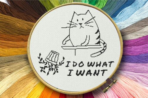 I Do What I Want Funny Cat Plant Lover Cross Stitch Pattern by GlassCraftsLaurus