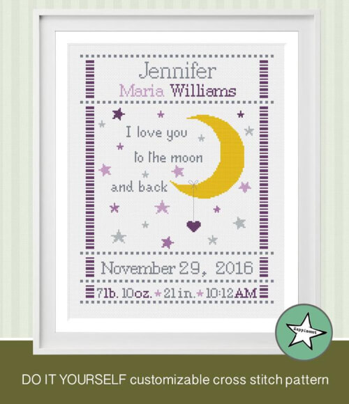 I Love You to the Moon and Back Birth Announcement Cross Stitch Birth Sampler by Happinesst