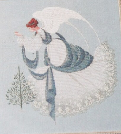Ice Angel Lavender and Lace Cross Stitch Pattern from LovesToSewVintage