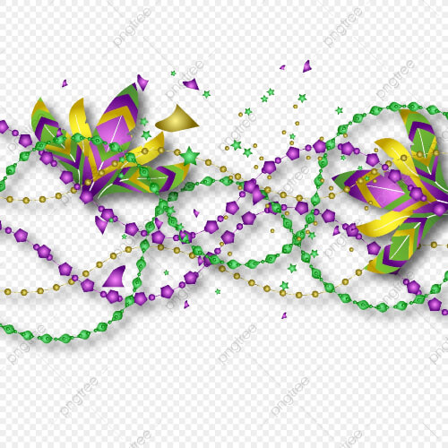 Illustration With Beads And Feathers Mardi Gras Clip Art