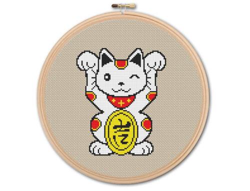 Japanese Lucky Cat Cross stitch Pattern by KHANNAandILAN