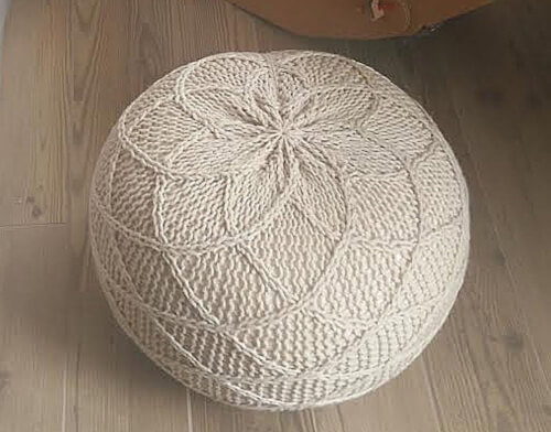 Knitted Pouf Pattern by isWoolish