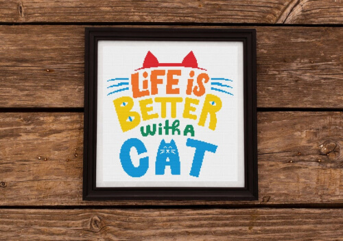 Life is Better With a Cat Cross Stitch Pattern by CraftRoomWorkShop
