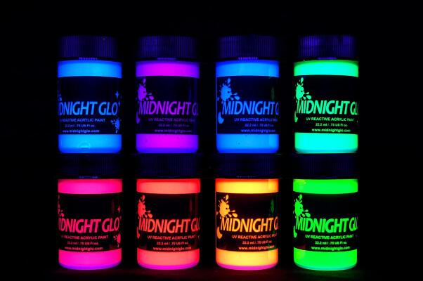 Midnight Glo UV Paint Acrylic Black Light Reactive Bright Neon Colors Set