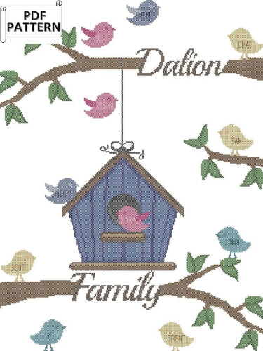 Modern Family Tree Counted Cross Stitch by oneofakinddesign