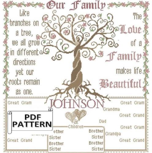 Modern Large Family Tree Cross Stitch by oneofakindbabydesign